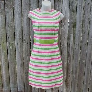 Vintage 1960s Preppy Pink Green Stripe Linen Dress